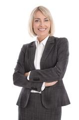 Lachende ältere Business Frau isoliert auf weiß