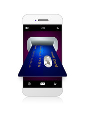mobile phone with credit card isolated over white