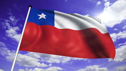 flag of Chile with fabric structure against a cloudy sky