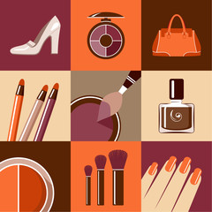 Flat round icons with makeup and accessories. vector