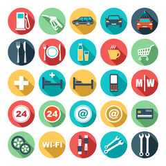 Flat icons of gas station. vector