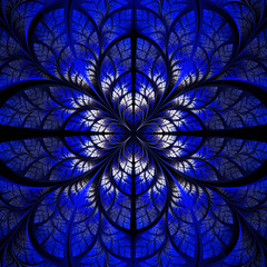 Symmetrical pattern of the leaves in blue and black. Collection
