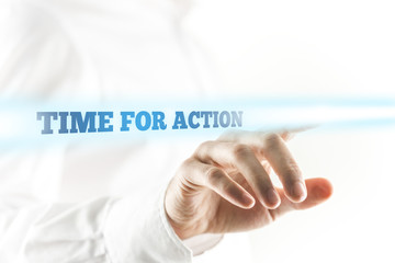 Glowing Time for Action Texts Above Human Hand