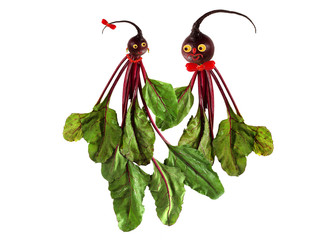 Funny portraits  of two beets