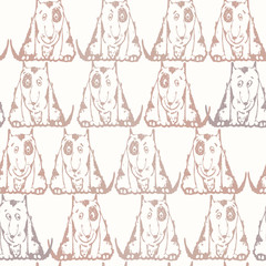 Seamless background with dogs. Hand-drawn vector Illustration.