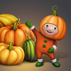 child in halloween costume and stack of pumpkins illustration
