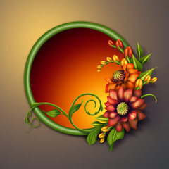 autumn flowers arrangement, round floral banner illustration