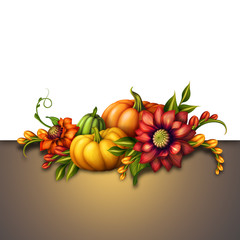 seasonal flowers and pumpkins, autumn illustration