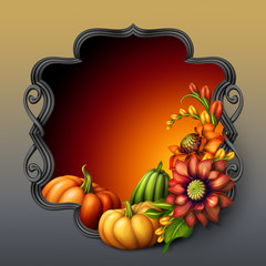 fall flowers and pumpkins illustration, seasonal banner