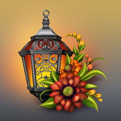 lantern with autumn flowers, festive fall illustration
