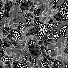 Monochrome seamless pattern with lilies on a black background.