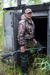 hunter at the  hut