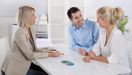Beratungsgespräch: Berater und Kunden im Büro