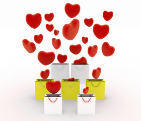 Hearts falling into gift bags. 3d render illustration