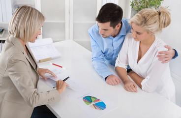 Gespräch: Kunden mit Berater für Finanzdienstleistungen