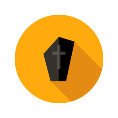 Dark Tombstone with Cross Flat Icon
