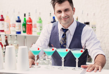 bartender with cocktail drink