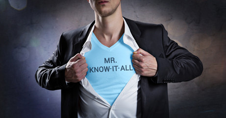 Mr. Know-it-all rips his shirt open