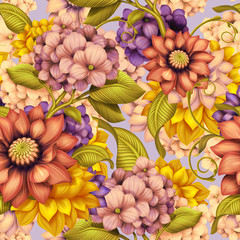 fall floral seamless pattern, vintage background illustration