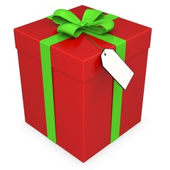 3d gift box with blank tag