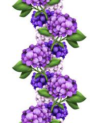 seamless floral border, purple flowers illustration