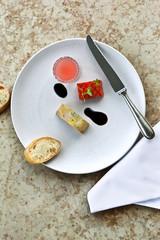Foie gras, watermelon and juice, balsamic vinegar