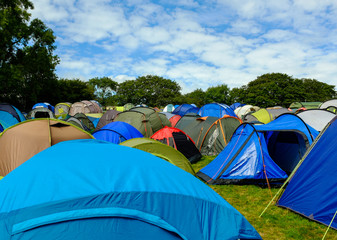 Rows of tents at the campsite - 'Festival No.6'. 2014