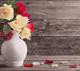 roses on wooden background