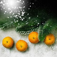 Christmas decor, tangerine  and light