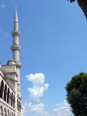 Minaret of the Sultan Ahmet Blue Mosque in Istanbul