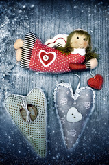 Christmas angel and heart