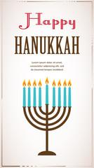 Happy Hanukkah greeting card design, jewish holiday. Vector