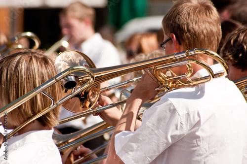 Leinwanddruck Bild Orchester mit Blasinstrumenten