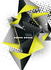 Geometric triangle 3d design, abstract background