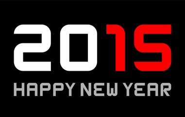 happy new year 2015 - rectangular basic font, red marked