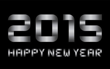 happy new year 2015 - rectangular bent metal letters