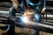 Leinwanddruck Bild - Welder at work