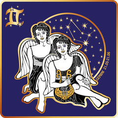 Horoscope.Gemini zodiac sign with boys twins