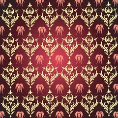 Vintage background yellow pattern on burgundy background
