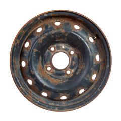 Rusty steel rim isolated