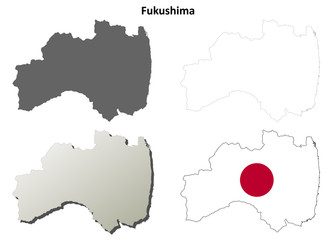 Fukushima blank outline map set