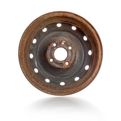 Rusty steel rim isolated