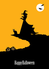 Halloween poster with witch