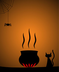Halloween cauldron silhouette with cat and spider