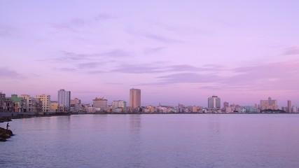 Cuba, La Habana, Havana, city view, people fishing