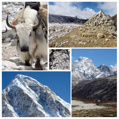 Collage of high altitude touristic route - Everest Base Camp