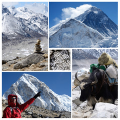 Collage of high altitude touristic route Everest Base Camp trek