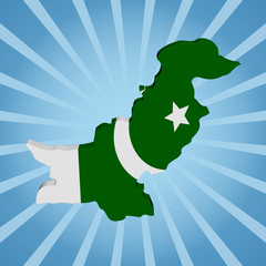 Pakistan map flag on blue sunburst illustration