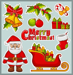 Christmas and New Year icons. Vector stickers set.