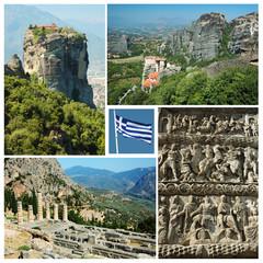 Famous greek landmarks - ancient Delphi town, Meteora,Salonika